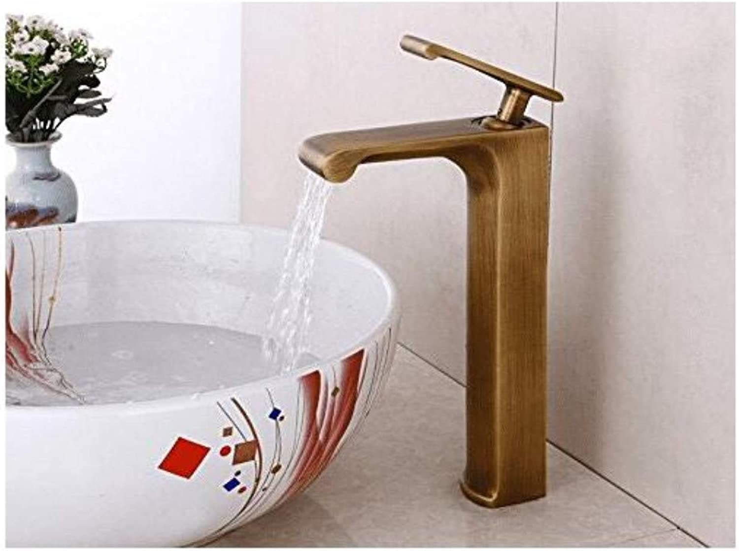 Modern Double Basin Sink Hot and Cold Water Faucetfaucet Copper Hot and Cold Wash Basin Above Counter Basin Waterfall Faucet
