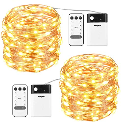 Mpow LED String Lights,100 LED 8 Modes 2-in-1 Battery,USB Powered Fairy Lights,33ft/10m Copper Wire String Light,Dimmable with Remote Control,for Christmas, Party,Wedding, Warm&Cool White(2 Packs)