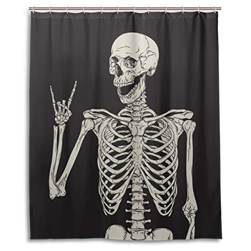 Rock And Roll Skull Skeleton Bone Love Music Shower Curtain Polyester Waterproof, Sugar Candy Skull Day Of Dead On Black Backdrop Bath Room Shower Curtain with Hooks 60 W x 72 H inches