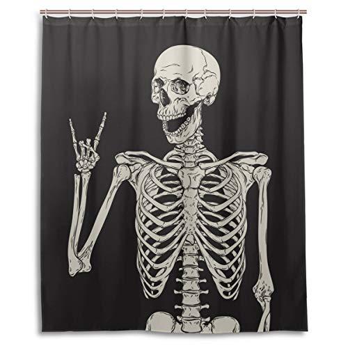 Rock and Roll Totenkopf Skelett Knochen Liebe Musik Duschvorhang Polyester Wasserdicht Sugar Candy Skull Day of Dead auf schwarzem Hintergr& Badezimmer Duschvorhang mit Haken 152 x 182 cm