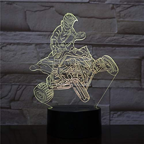 3D Illusion Night Light Quad Bike Motorcycle Rider Bedroom Decorator Color Changing Battery-Powered Led Night Light, Novel Gift