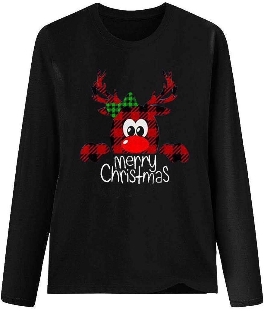 LEKODE T-Shirts Womens Christmas Printed Crewneck Long Sleeve