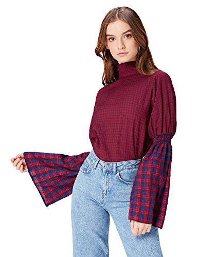 Marca Amazon - find. Blusa de Cuadros con Lazada para Mujer, Multicolor (Navy-red Check), 36, Label: XS