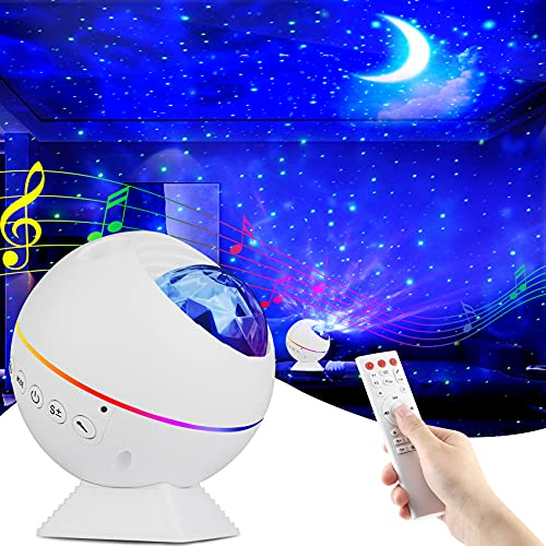 Tobeape Proyector LED de cielo estrellado, proyector de olas del océano, luz de noche romántica, perfecta para bebés, proyector de estrella con mando a distancia con altavoz