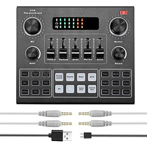 Scheda audio dal vivo, dispositivo di cambio vocale esterno con più effetti sonori, mixer audio per la registrazione di musica, chat di trasmissione in diretta su cellulare Computer portatile Tablet