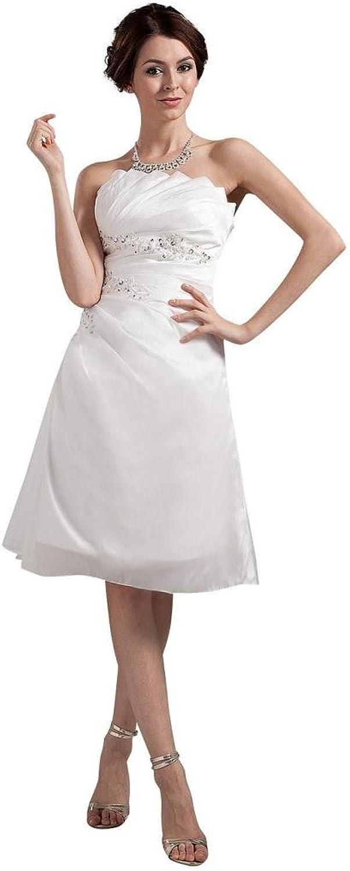 Dearta Women's ALine Scalloped Neck Sleeveless KneeLength Wedding Dresses