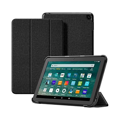 OLAIKE Custodia in tessuto per Tutto nuovo tablet Kindle Fire HD 8/8 Plus(10a Generazione, 2020), Copertura del supporto a tre ante con Auto Sleep/Wake (Solo per 2020 Fire HD 8/8 Plus), Nero