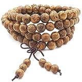 108 Perles En Bois Naturel Bracelet Bouddha Tibétain Bouddha Prière Méditation Prière Élastique Mala Bracelet/Collier pour Homme Femme