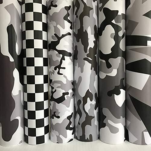 BLOUR Schwarz Weiß Grau Camo Vinyl Film Schnee Tarnung Vinyl Auto Wrap Luftblase Kostenlos Für Motorrad Auto Aufkleber Aufkleber