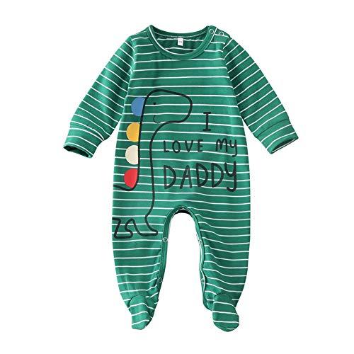 Carolilly Pagliaccetto Neonato Body Neonato Unisex Manica Lunga Stampa Dinosauro/Elefante I Love Daddy/Mummy Stampato Tutina Neonato Cotone