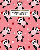 Cornell Notes Notebook: Cute Festive Large Cornell Note Paper Notebook | College Ruled Medium Lined Journal Note Taking System for School and University | Christmas Panda Bear Print