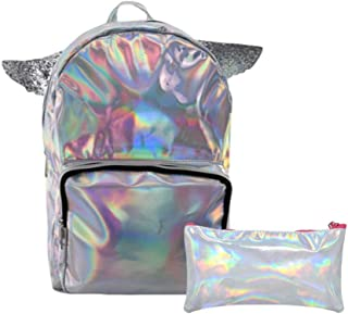 PU Leather Girls Unicorn Backpack with Wings, 15 Inch, and Matching Pencil Case, Assorted Colors (Silver)