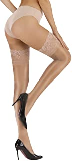 Women's Ultra Shimmery Sexy Lace Sheer Thigh High Compression Stockings Stay Up Silicone Shiny Pantyhose