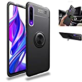 Huawei Y9s/Huawei P Smart Pro Case,360° Rotating Ring Kickstand Protective Case,Silicone Soft TPU Shockproof Protection Thin Cover Compatible with[Magnetic Car Mount]for Huawei Y9s Case(Black/black)