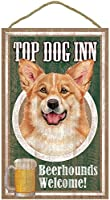 TOP DOG INN サインボード:ウェルシュコーギー ビール好きバー看板 ウッドボード製 BEER BAR MADE IN U.S.A [並行輸入品]