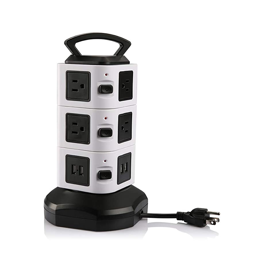 Power Strip Tower, Surge Protector Electric Charging Station 10 Outlet Plugs with 4 USB Slot 6ft Cord Wire Extension 2500W 13A 16AWG Universal Socket for PC Laptops Mobile Devices