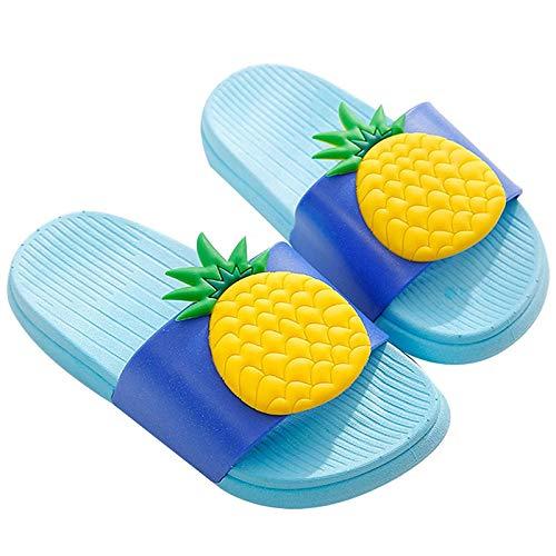 Pantofole Ragazzi e Ragazze Scarpe da Spiaggia e Piscina Donna Ciabatte da Doccia Sandali Antiscivolo,Blue_Ananas,23-24 EU/Etichetta 24-25