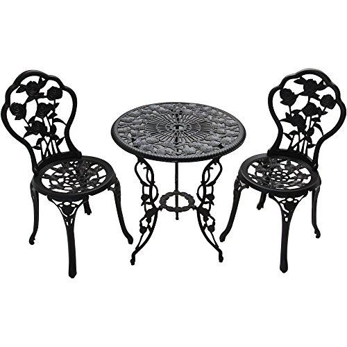 BELLEZE 3 Piece Bronze Cast Bistro Outdoor Patio Set Rose Design Weather Resistant Round Table 2 Garden Furniture Chair
