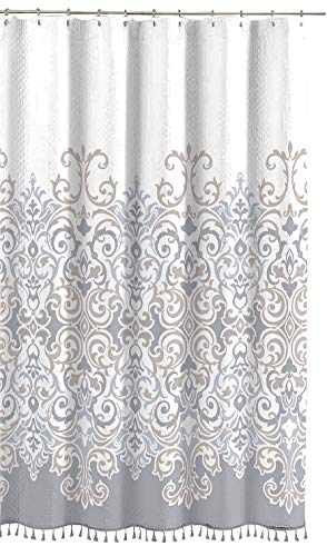 Sicily Collection Decorative Floral Fabric Shower Curtain: Elegant Style Grey, Bronze, White with Fringe