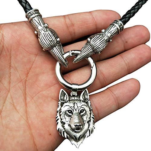 Nordic Viking Lobo Cabeza Colgante Doble Cuervo Cuero Cuerda Collar, Irlanda Druid Retro Amuleto,...