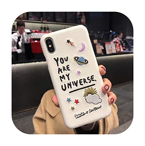 Funda para iPhone 11 Pro Max de piel de lujo bordado Planet Universe funda para teléfono móvil para iPhone 6 6s 7 Plus 8plus X XR XS MAX Cover