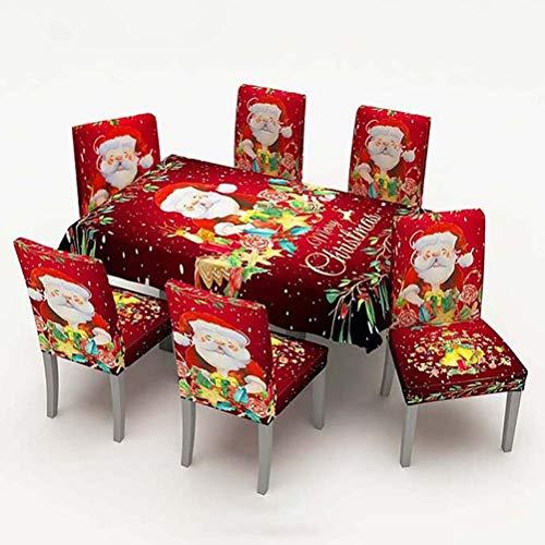 WLNKJ Mantel Navideño con 6 Fundas para Sillas De Comedor, Caramelo De Papá Noel, Mantel De Comedor Impermeable, Funda Elástica para Asientos para Decoraciones De Fiesta,150 * 300cm
