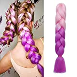 Pelo Sintetico para Trenzas Africanas Extensiones de Cabello Jumbo Braids Crochet Braiding Hair Extensions 1pcs 60cm...