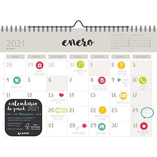 Grafoplás 9112413. Calendario de Pared 2021, Tamaño A4, Papel 135 Gramos, Certificado FSC, Incluye Pegatinas de Colores