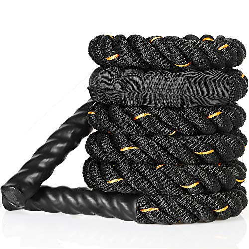 FREEWISE Battle Rope 1.0 Inch Heavy jump Battle Exercise Training Rope 9.8ft,10.5ft Length Workout Rope 100% Dacron Fitness Rope for Strength Training Home Gym Outdoor Cardio Workout