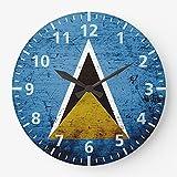 DKISEE Schwarze Vintage Retro Saint Lucia Flagge Wanduhr geräuschlos nicht tickend Holz dekorative r&e Wanduhr für Zuhause Büro Schule Decor Uhr 25,4 cm el015
