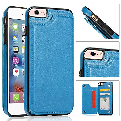 iPhone 6s,6 Wallet Case,iPhone 6 Case with Card Holder,Aprilday iPhone 6 Slim Fit Premium Leather [Kickstand Feature] Case Card Slots Shockproof Folio Flip Case with ID&Credit Card Pockets (Blue)