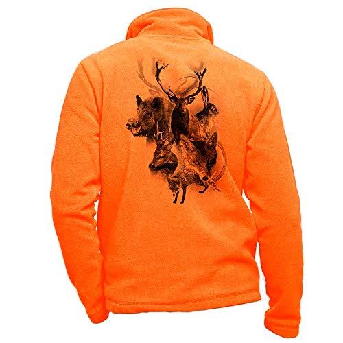 Pets-easy - Chaqueta de forro polar para caza personalizada, Hombre, naranja, large