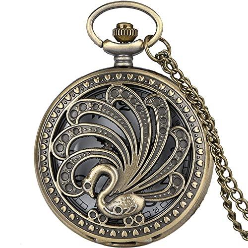 LLGBD Accessories/Reloj de Bolsillo y Cadena Antigua Pavo Real Reloj de Bolsillo Estilo Retro Estilo Hueco Belleza Collar Colgante Creativo Regalo Animal Reloj Animal