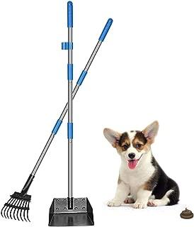 QiMH Dog Pooper Scooper, Long Handle Stainless Metal Pet Poop Tray and Rake Set for Small Medium Dogs Waste Removal, Clean Response Dog Waste Bin & Rake