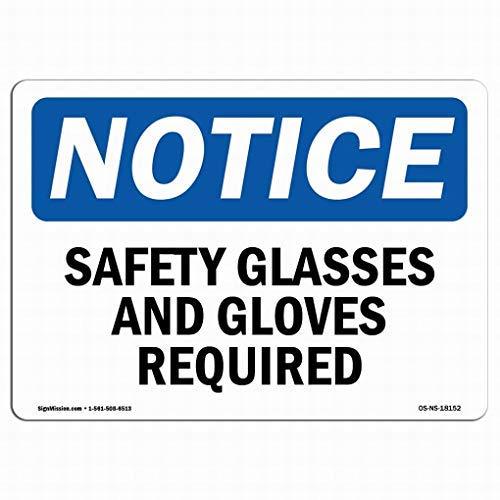 Queen54ferna Warnschild für Schutzbrille und Handschuhe, Metall, 20,3 x 30,5 cm