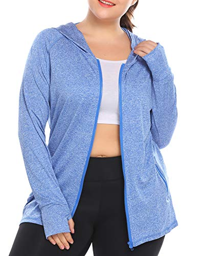 IN'VOLAND Womens Running Jackets Plus Size Lightweight Full Zip Up Track Workout Yoga Athletic Hooded Hoodie with Pockets (Blue, 22 Plus)