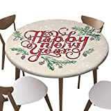 """SfeatrutMAT Round Covers for Home Elastic Edged Flannel Backed Fitted Tablecloths,Happy New Year Vintage Text Hand Drawn Celebration Lettering with Textured Background,Fits up 40""""-44"""" Diameter Tables"""