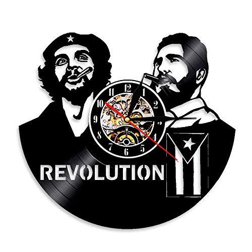 1 Revolución cubana Lámpara de pared Iluminación LED Decoración del hogar Vinilo Disco Reloj de pared Regalo hecho a mano