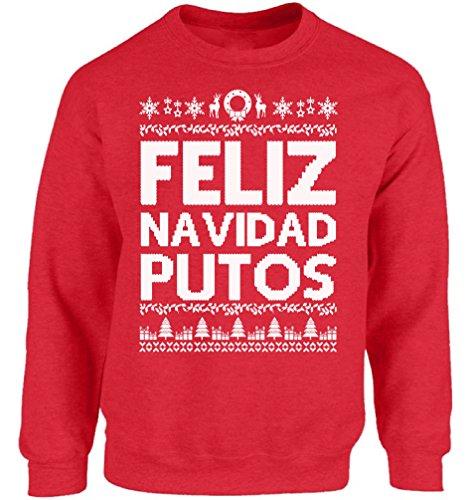 Vizor Feliz Navidad Putos Ugly Christmas Sweatshirt for Men and Women Feliz Navidad Putos Christmas Sweater Xmas Gifts Red L