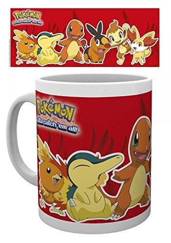 1art1 Pokemon, Feuer Typen, Flemmli, Feurigel, Glumanda, Floink, Panflam, Fynx Foto-Tasse Kaffeetasse (9x8 cm) Inklusive 1x Überraschungs-Sticker