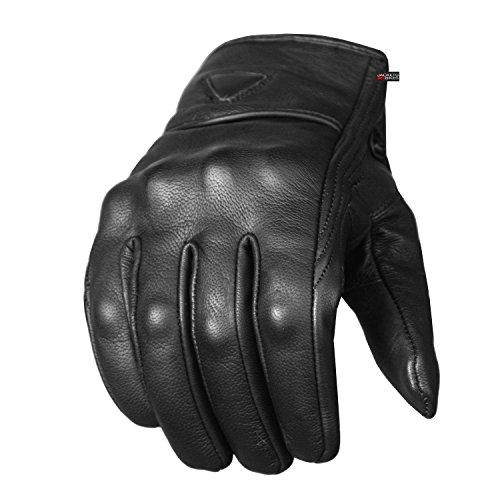 Men's Premium Leather Street Motorcycle Protective Cruiser Biker Gel Gloves L