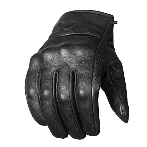 Men's Premium Leather Street Motorcycle Protective Cruiser Biker Gel Gloves L