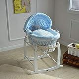 Mcc Moisés cesta para Bebé recién nacido cesta de mimbre blanca con sábanas azules en 100% algodón Waffle y colchón (color azul)