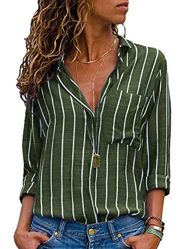 ASKSA Damen Bluse V-Ausschnitt Oberteile Streifen Langarm Knopf Hemdbluse Tunika Tops mit Tasche