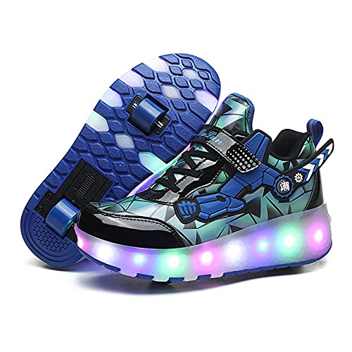 WXHXSRJ Zapatillas de patinaje unisex LED con ruedas retráctiles, para correr, cumpleaños, Halloween, color azul, 39