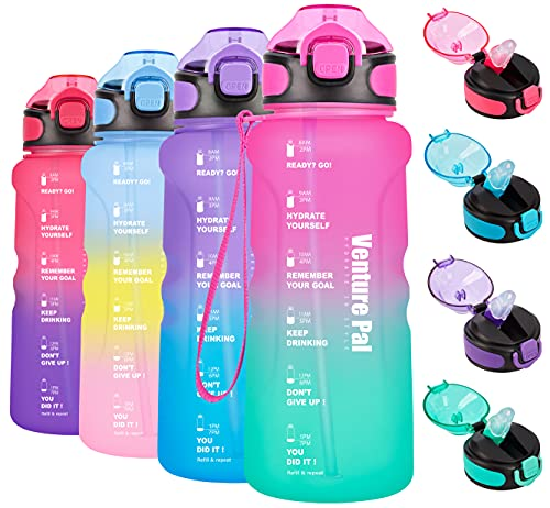 Venture Pal 32oz Motivational Water Bottle with Time Marker & Straw, Leakproof BPA Free Water Jug to Ensure You Drink Enough Water Throughout The Day for Outdoor Enthusiasts-Light Pink/Green Gradient