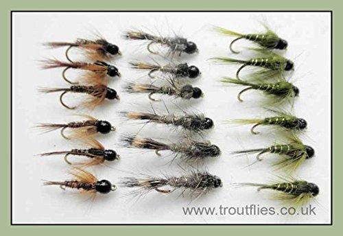Tungsten Perlen-Forellenfliegen, 18 Nymphen, Oliven, Hasenohren, Fasanenschwanz, gemischt 10/12/14