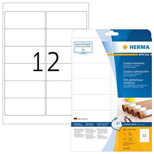 HERMA 9533 Wetterfeste Folien-Etiketten DIN A4 (99,1 x 42,3 mm, 10 Blatt, Polyethylen, matt) selbstklebend, bedruckbar, extrem stark haftende Outdoor Klebefolie, 120 Klebeetiketten, weiß