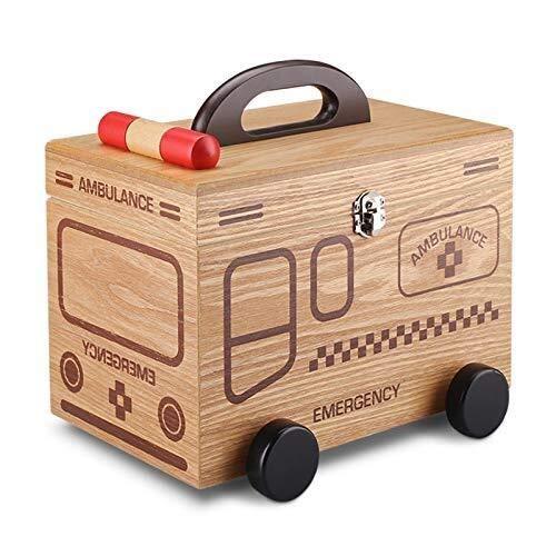 CS-JJ Hout Medisch pakket EHBO kit met slot huishoudelijke geneeskunde opbergdoos Cartoon schattige mini kind baby medicijndoos Container EHBO navulset