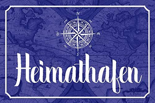 Schatzmix Spruch Heimathafen Kompass Anker Metallschild Deko 20x30cm tin Sign Blechschild, Blech, Mehrfarbig, 20x30 cm